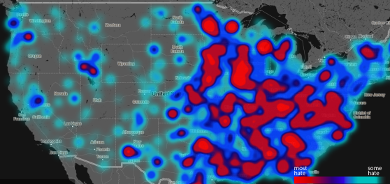 Twitter 'Hate Map' Shows where Racist, Homophobic and Offensive Tweets Originate