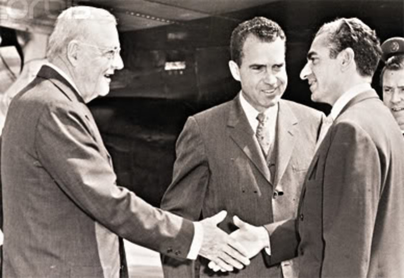 John Foster Dulles, Vice-President Richard Nixon, and the Shah of Iran