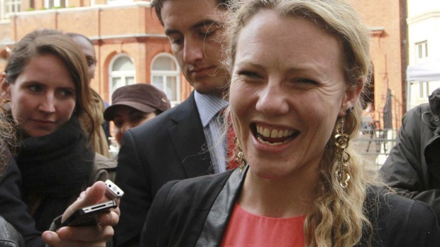 Sarah Harrison, assistant to Julian Assange, thanks supporters outside Ecuador''s embassy in London in 2012. She is among the journalists whose details were provided to authorities. Photo: Supplied