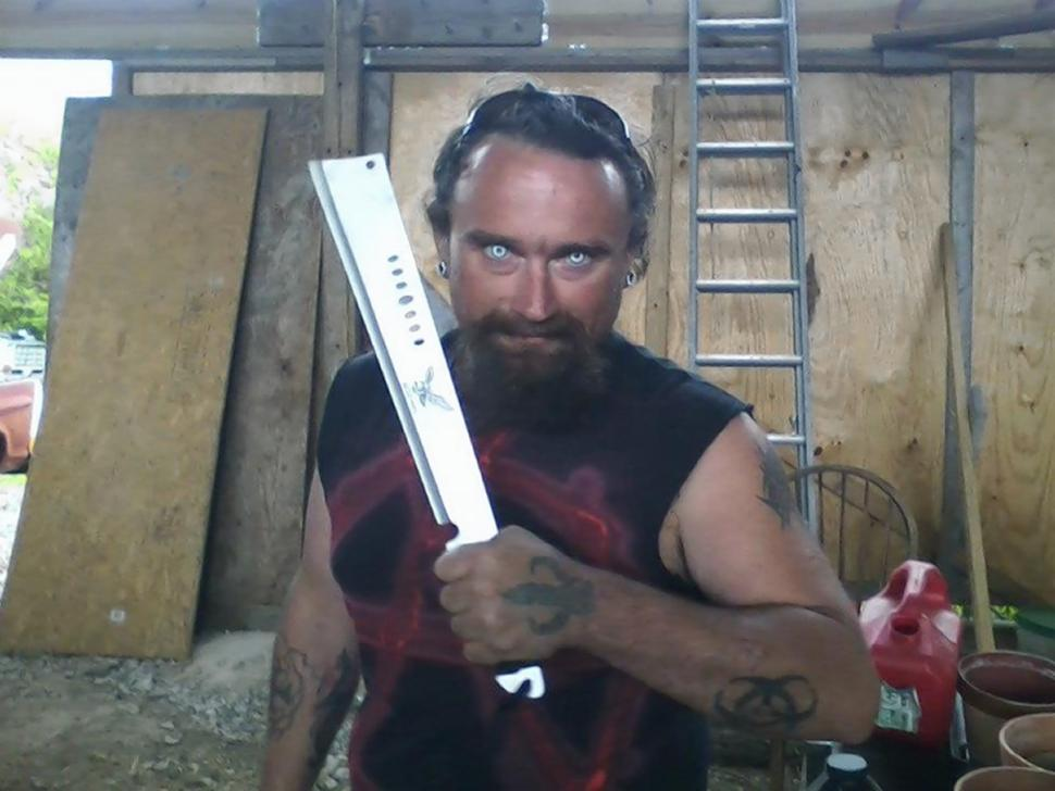 The 37-year-old posted several disturbing photos of himself posing with large knives and blades.